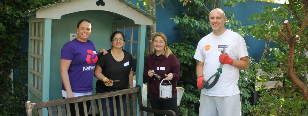 Natwest corporate volunteers in the Fair Havens garden