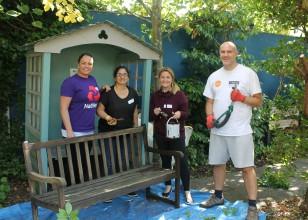 Natwest corporate volunteers gardening at Little Havens
