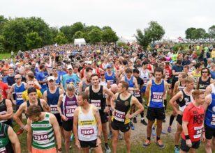marathon runners gathering at the start line