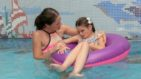 Ava and Mum in the pool at Little Havens