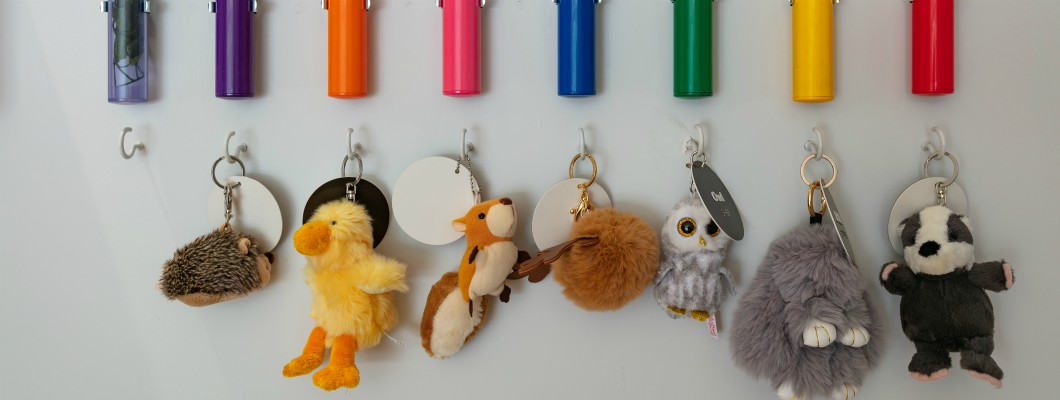 Keyrings with small animal toys attached