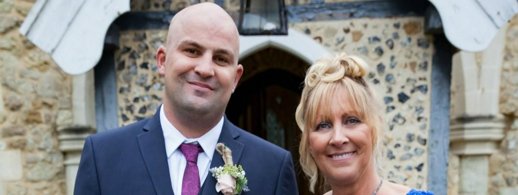 Peter and his mum at his wedding