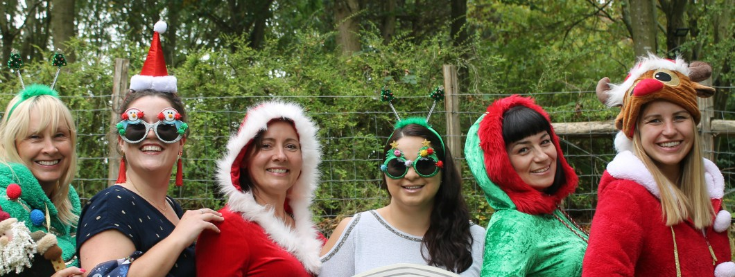 Fundraisers wearing christmas outfits