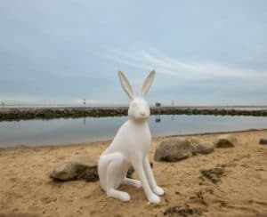Hare sculpture on the beach