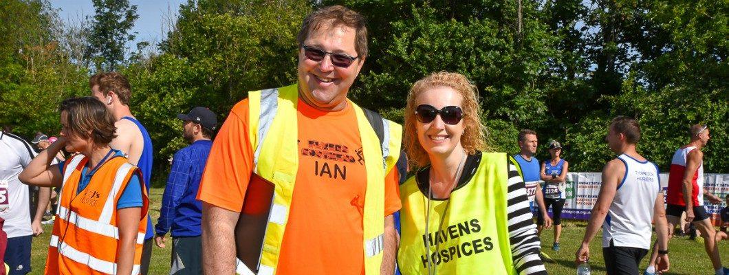 Two Southend Half volunteers in high vis vests