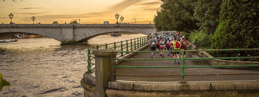 Walkers going over the bridge