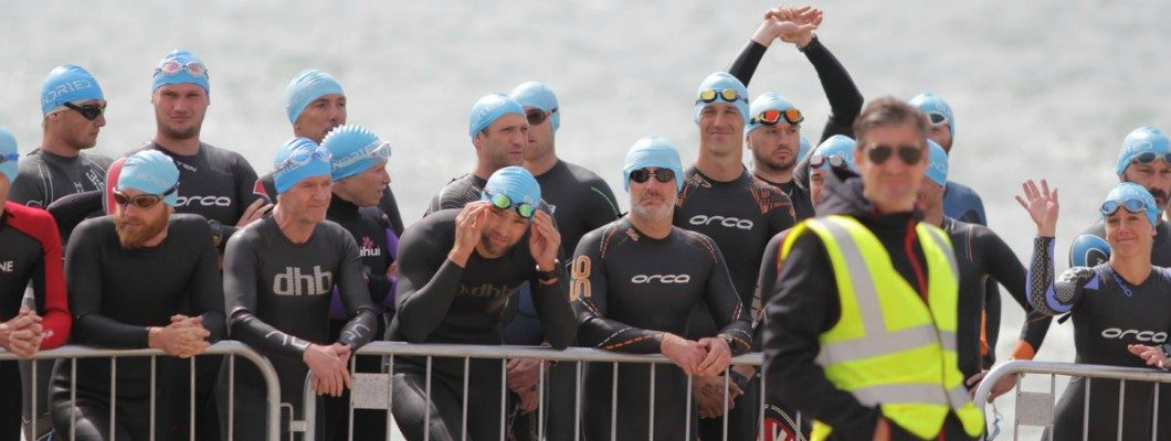 The swim start line for the Southend Triathlon 2019