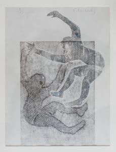Mono printed artwork of two figures falling