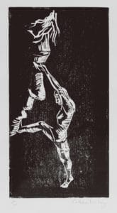 Darker mono printed artwork of a figure falling and a figure trying to catch them