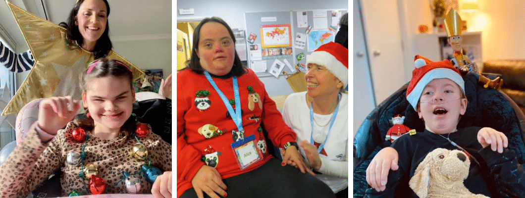 three photos, first one is a mum and child wearing necklace of bells dancing, second is a young adult wearing christmas jumper with carer next to her, third is a boy wearing a christmas hat